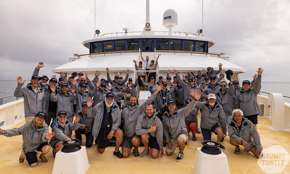 The group onboard Coral Discoverer. Credit: Grumpy Turtle