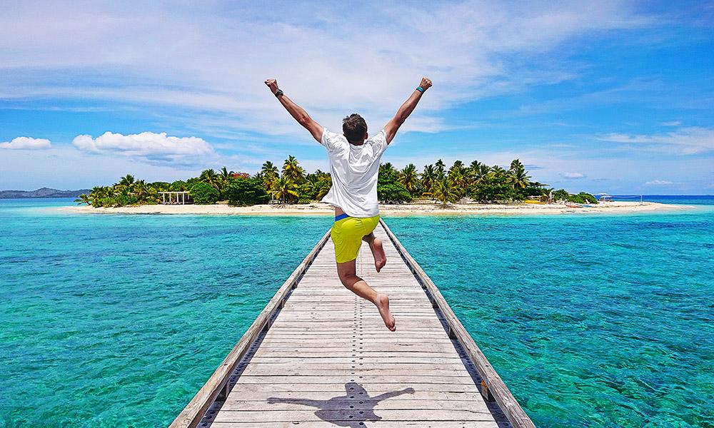 Jumping for joy in Fiji